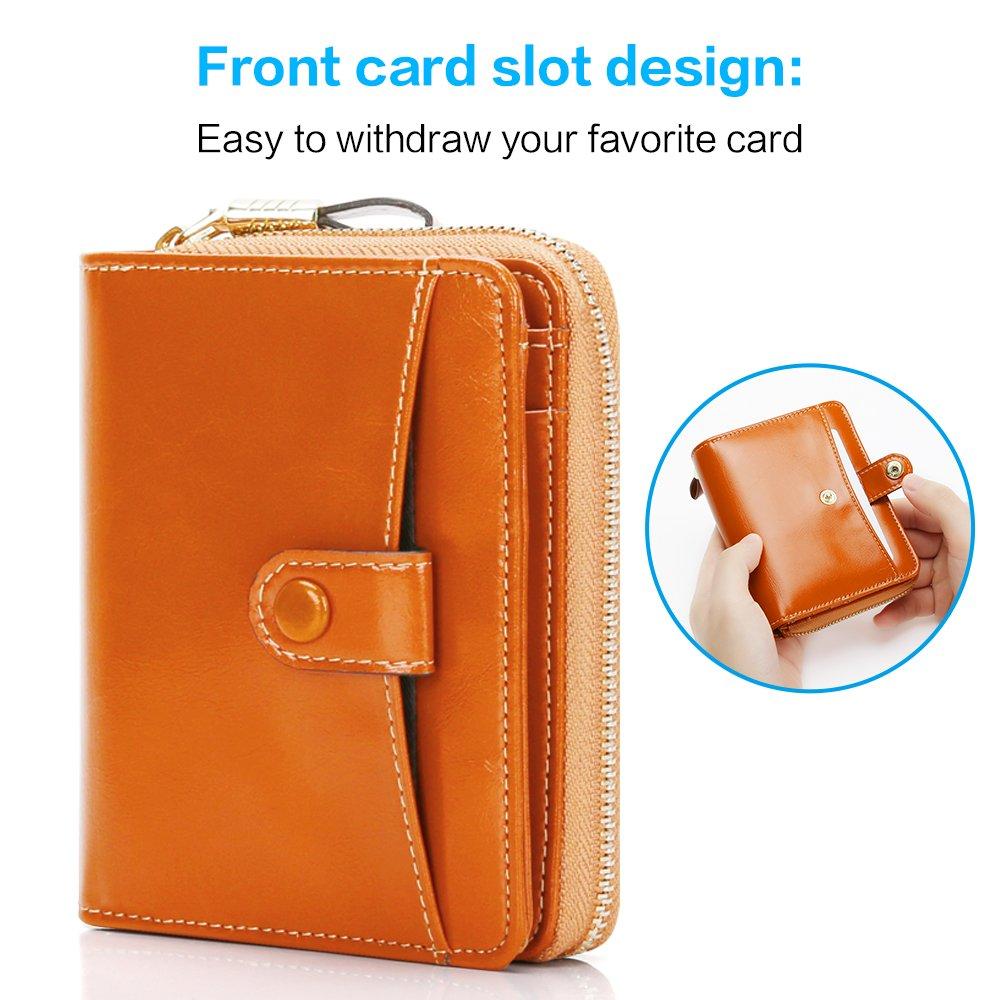 904037345 Mini Carteras Mujer Monederos de Cuero Genuino Gran Capacidad RFID Bloqueo  Bolsos Corto de Mujer con ...