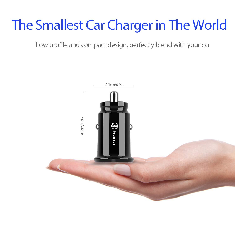 Heardear Cargador de Coche//USB Blanco Helius Q2 Mini 24W 4.8A Dual USB Car Charger,Adaptador de Coche Flush Fit,para iPhone,iPad Pro,Samsung Galaxy,Nota,LG,Pixel,HTC y m/ás