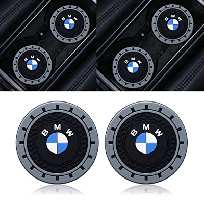 "Goshion 2PCS2.75 Inch Diameter Oval Tough Car Logo Vehicle Travel Auto Cup Holder Insert Coaster for BMW 1 3 5 7 Series F30 F35 320li 316i X1 X3 X4 X5 X6 (2.9"" Dia.(X3 /X4 /5/7 Series): Automotive"