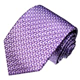 LORENZO CANA - Luxury Italian 100% Silk Tie Jacquard Necktie Purple Orchid Pink Checkered - 84223