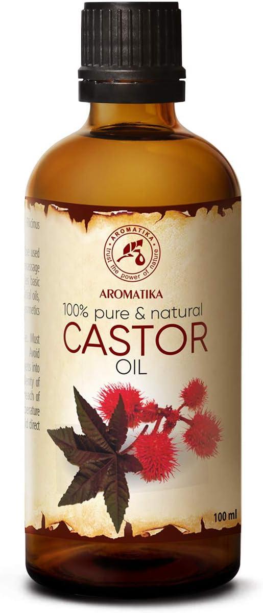 Aceite de Ricino 100ml - Ricinus Communis - India - 100% Puro y Natural - Botella de Vidrio - Multifuncional - Intensivo para el Rostro - Cuerpo - Cabello - Masaje - Castor Oil