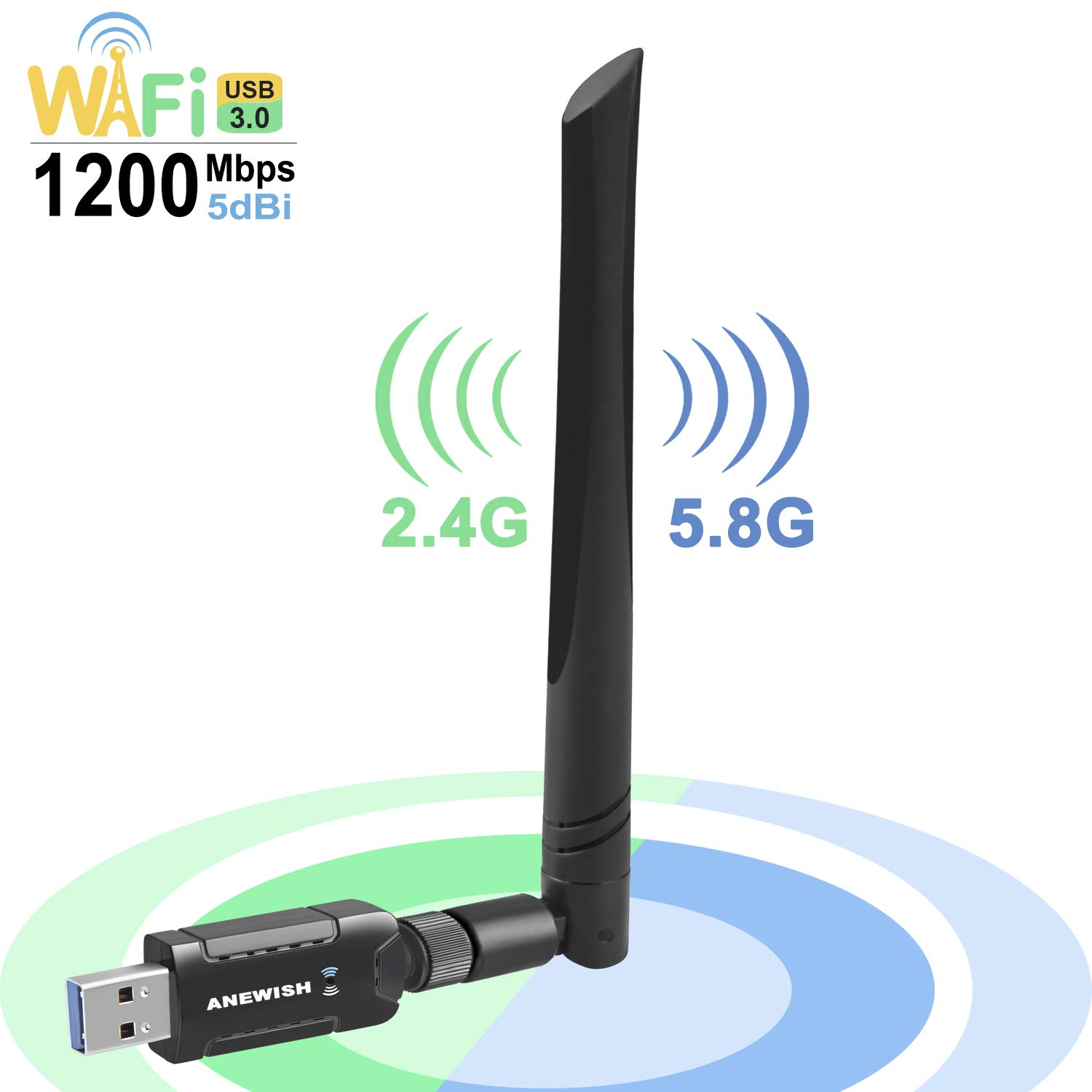 ANEWISH 1200Mbps Wireless USB WiFi Adapter 3.0 Network LAN Card with 5dBi Antenna Dual Band 2.4G/5G 802.11ac WiFi Adapter Compatible PC/Desktop/Laptop/Tablet, Windows 10/8.1/8/7/XP, Mac OS