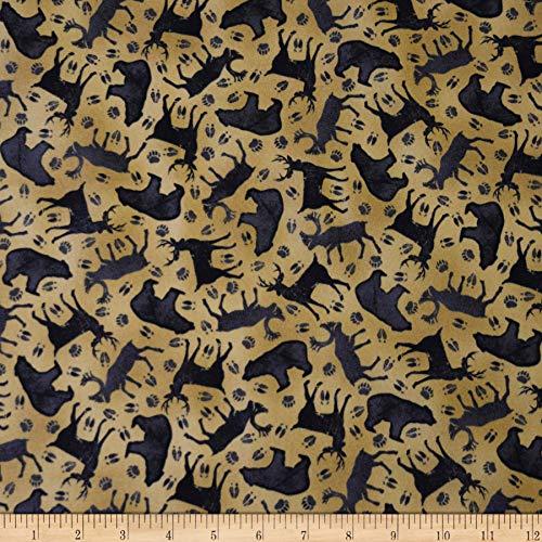 QT Fabrics Moose Trail Lodge Animal Silhouettes Fabric, Dark Tan, Fabric By The Yard