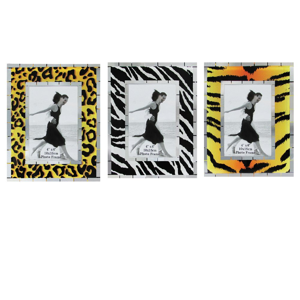 Glass Photo Frames - Pack of 3 Safari Animal Print Wall and Table Top Picture Frames - Holds a 4'' x 6'' Print