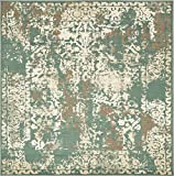 Vintage Traditional Overdyed Green 8' x 8'-Feet St. Johns Collection Area rug - Living Dinning Room Bedroom Rugs and Carpets