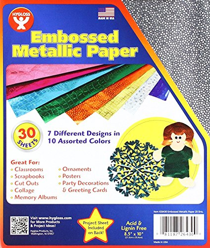 Hygloss 26430 Embossed Metallic Foil Paper, 9