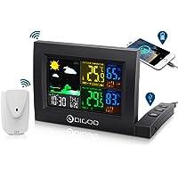 DIGOO Couleur Affichage Station météo sans fil, angle d'écran réglable, double commande de la voix et de l'écran tactile, avertissement de température, fonction de répétition du réveil, USB chargement