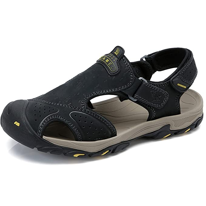 e8e159fdb7e0 Camel Men Sandal Leather Loafer Shoes Closed Toe Slippers Shoes Slip on  Boat Flat Fisherman Sandals