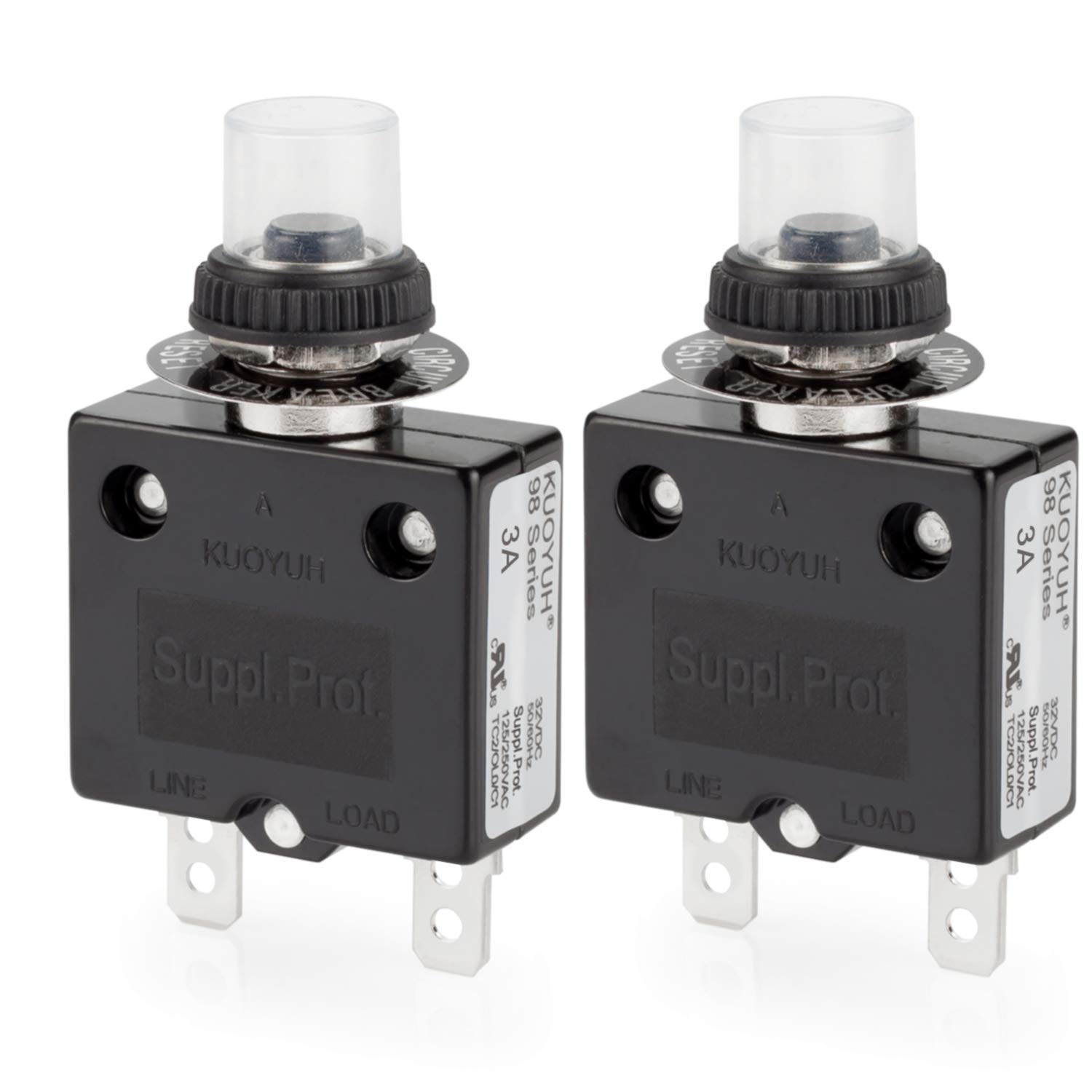 uxcell Thermal Circuit Breakers 25A 125//250V AC 32V DC Push Button Manual Reset Overload Protector Switch 2 Pcs