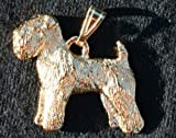 Soft Wheaten Terrier Dog 24k Gold Plated Pewter Pendant USA Made
