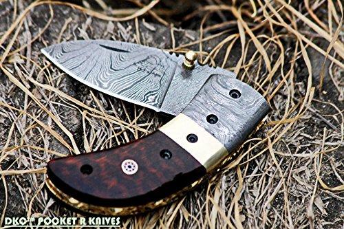 ((3 6/18) Sale DKC-43-SW Snake Wood Thumb Damascus Steel Folding Pocket Knife 3.5