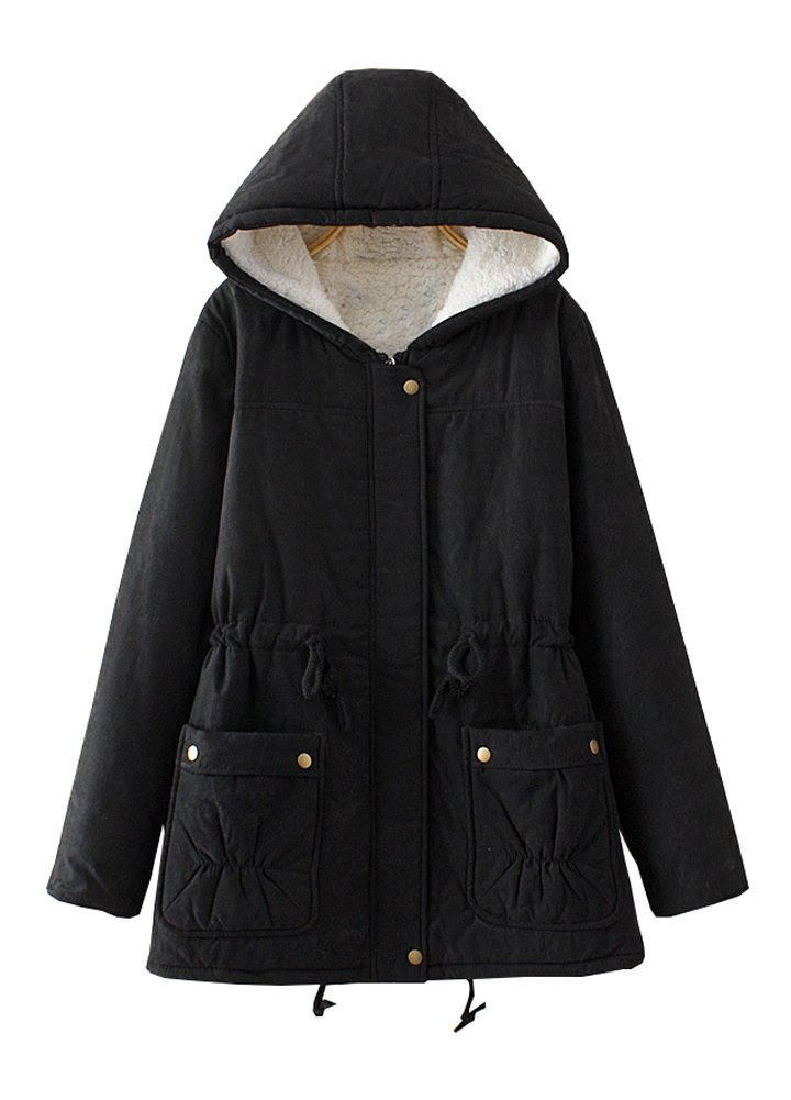 Wicky LS Women's Autumn Winter Hoody Fleece Outwear Coat with Drawstring (3XL, Style 2 Black) by Wicky LS (Image #1)