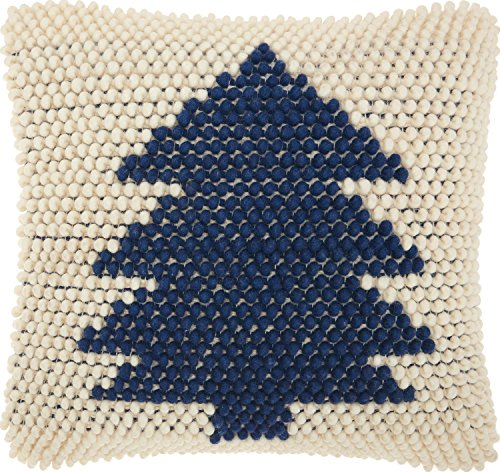 Nourison Mina Victory DC569 Christmas Tree Loops Throw Pillow, Navy Ivory, 20