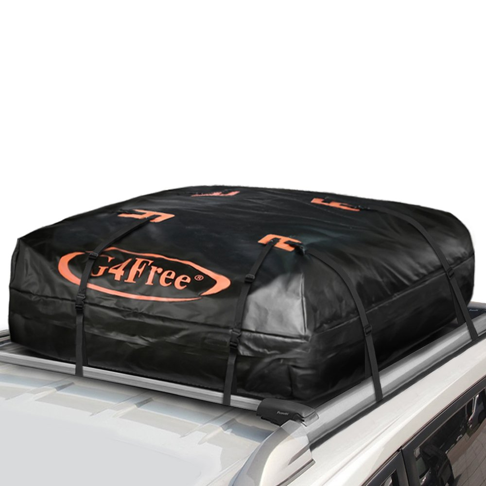 G4Free 11.3 Cubic Feet Car Top Carrier, Easy to Install Soft Roof Top Cargo Bag with Wide Straps-Works With or Without Roof Rack