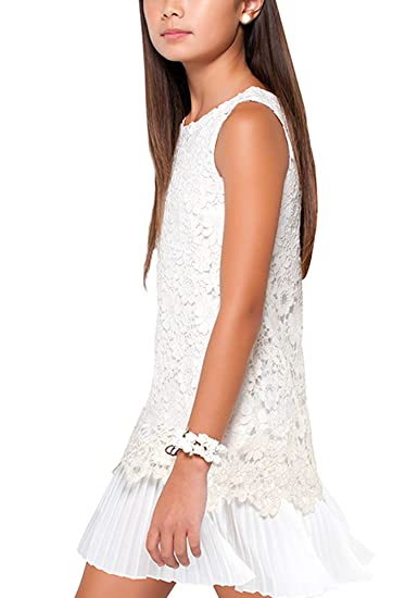 pick up info for amazing price Amazon.com: Tween Girls 8-18 Ivory/Gold Floral Lace-n-Pleat ...