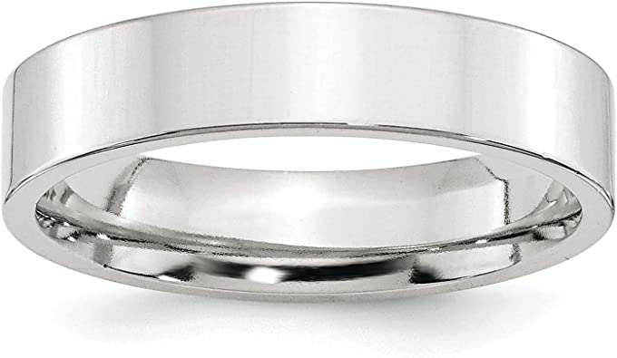 Sterling Silver Wedding Band Ring Comfort Flat Solid Polished 5 mm 5mm Comfort Fit Band