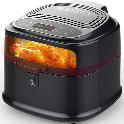 8L Multifuncional Casa Freidora, 1200W Sin humos Alta capacidad Freidoras, Mariscos pastel Carne a