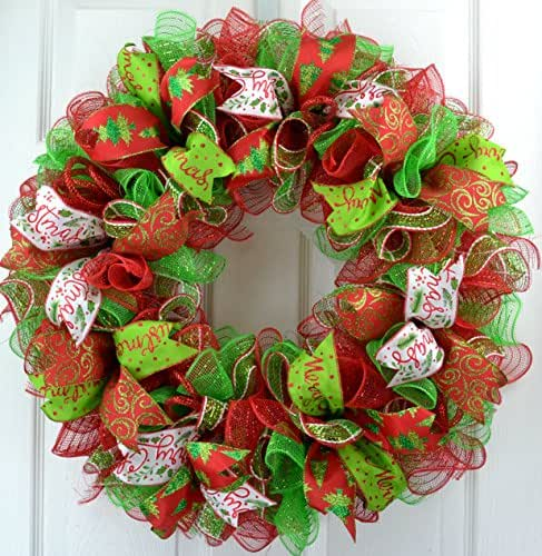 christmas wreath christmas decoration mesh outdoor front door wreath red lime green white - Red And Green Christmas Decorations