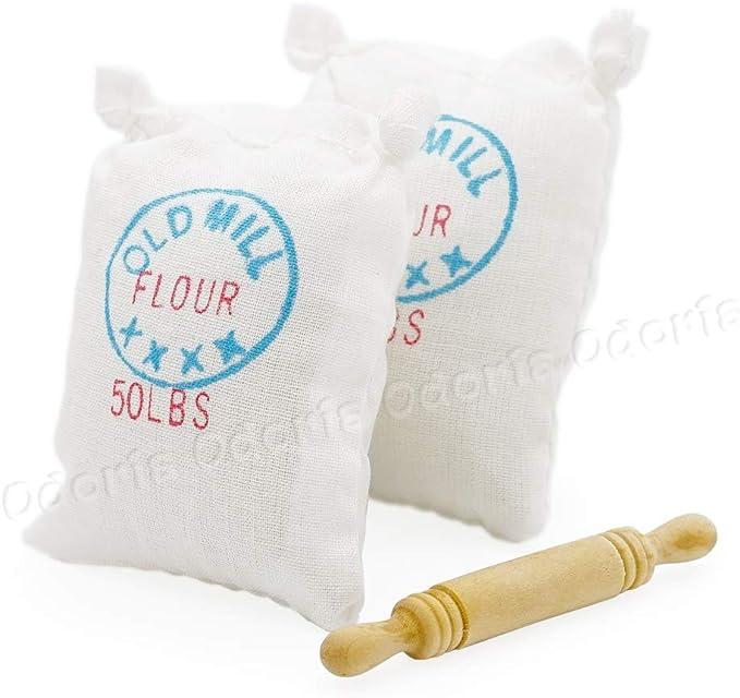 2x Bag of Flour Sack w// Wood Rolling Pin Miniature Food 1:12 Dollhouse Kitc D7R2