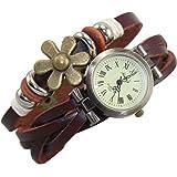 Domire Quartz Stylish Weave WRAP Around Leather Bracelet Lady Woman Wrist Watch