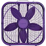 Lasko Cool Colors 20'' Box Fan Durable Metal Frame Purple