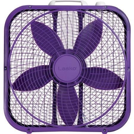 "Lasko Cool Colors 20"" Box Fan Durable Metal Frame Purple"