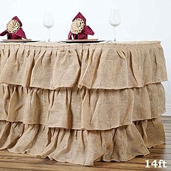 Tableclothsfactory 3 Tier Rustic Elegant Ruffled Burlap Table Skirt   14 Ft
