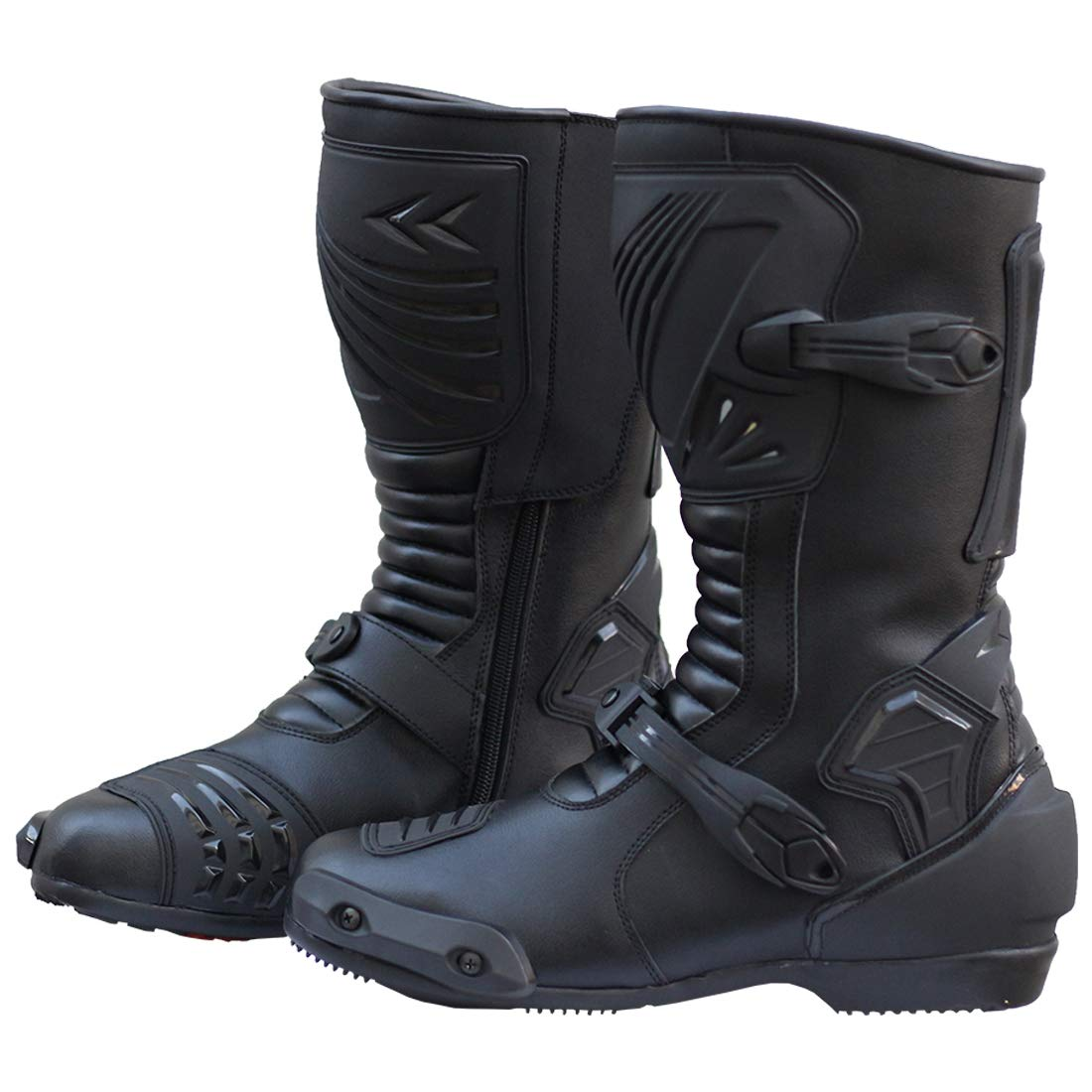 Motorcycle Riding Waterproof Leather Anti-Skid Sports Gear Outdoor Racing Boots (10.5) Black