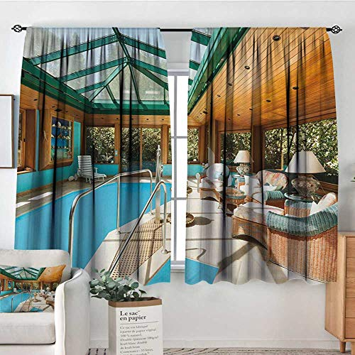 Elliot Dorothy Blackout Curtains Modern,Residential House Large Indoor Pool Furniture Sunrays Leisure Time Print,Green Pale Brown Blue,Rod Pocket Curtain Panels for Bedroom & Kitchen 63