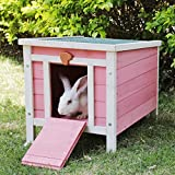 ROCKEVER Feral Cat House Outdoor Insulated, Wooden Cat Shelter, Weatherproof Small Animal House and Habitats Pink&White