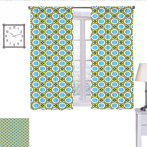 alisoso Geometric Blackout Curtain Retro Circles with Dots Round Design Elements Vintage Inspirations Curtain Valance Yellow Green Blue Black W63 x L45 (Dot Circle Valance)