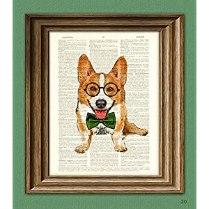 Poindexter the Teacher's Pet Corgi With Glasses and Bow Tie Corgi Dog Original Art Vintage Dictionary Page Book Art…