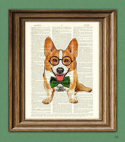 Poindexter the Teacher's Pet Corgi with glasses and bow tie Corgi dog (Antique Dog Art)