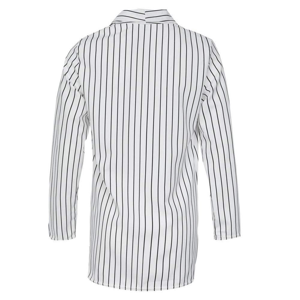Kulywon Women Ladies Long Sleeve Striped Stylish Duster ...
