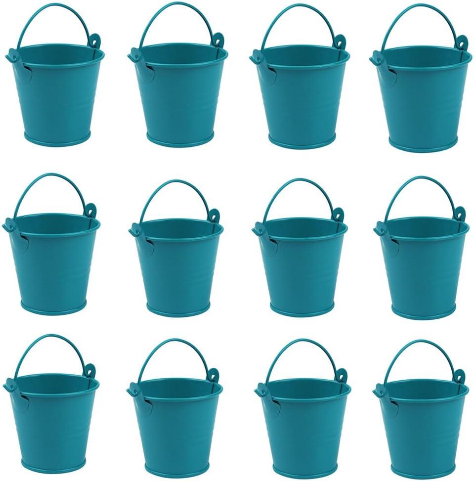 10pcs Hanging Metal Bucket Pots Mini Gift Pail Tins with Handles Bridal Wedding