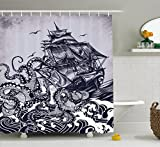 sin in linen  Sail Boat Waves and Octopus Old Look Home Textile European Style Bathroom Decoration Decor Design Hand Drawing Effect Fabric Shower Curtain, Blue