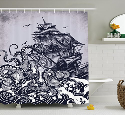 Ambesonne Sail Boat Waves and Octopus Old Look Home Textile European Style Bathroom Decoration Cozy Lovely Decor Pleasing Peculiar Design Hand Drawing Effect Fabric Shower Curtain, Blue