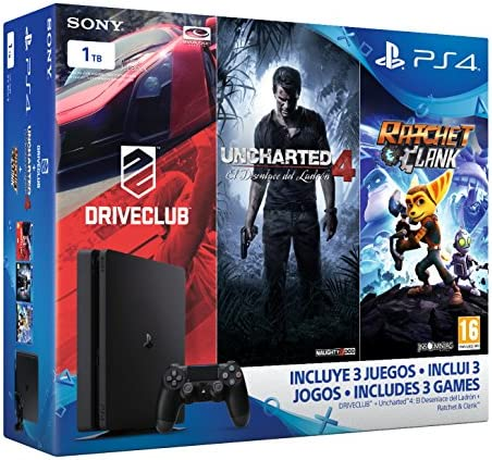PlayStation 4 Slim (PS4) 1TB - Consola + Uncharted 4 + DriveClub + Ratchet & Clank [Pack Exclusivo]: Amazon.es: Videojuegos