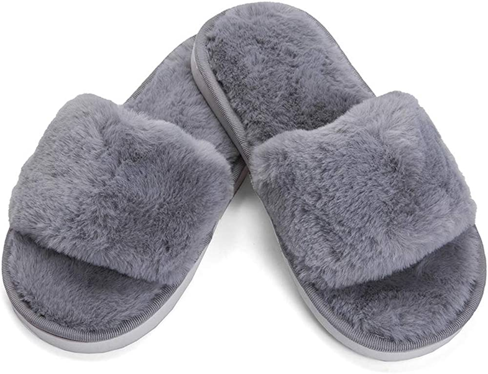 Maybolury Girls Cute Slides Slippers Faux Fur Fashion Indoor Slippers Home Indoor Anti-Slip Flat Slippers