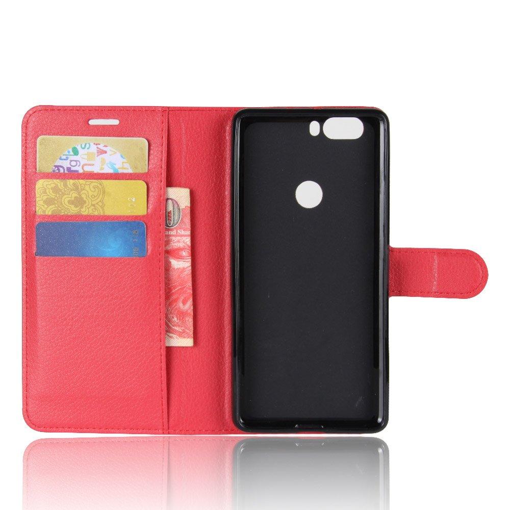 Guran® Funda de Cuero PU Para ZTE Nubia Z17 Smartphone Función de Soporte con Ranura para Tarjetas Flip Case Cover Caso-rojo