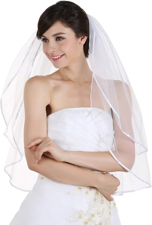 "2T 2 Tier 1/4"" Ribbon Edge Bridal Wedding Veil"