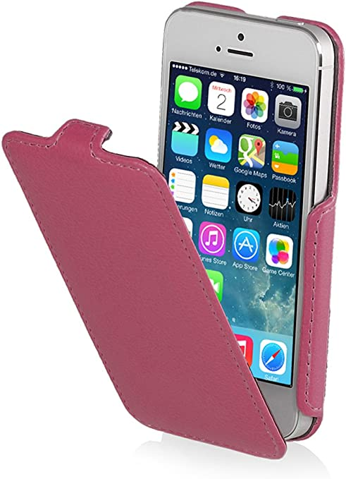 StilGut Slim Case compatible with iPhone 5 & iPhone 5s, Vertical Flip Cover, Pink