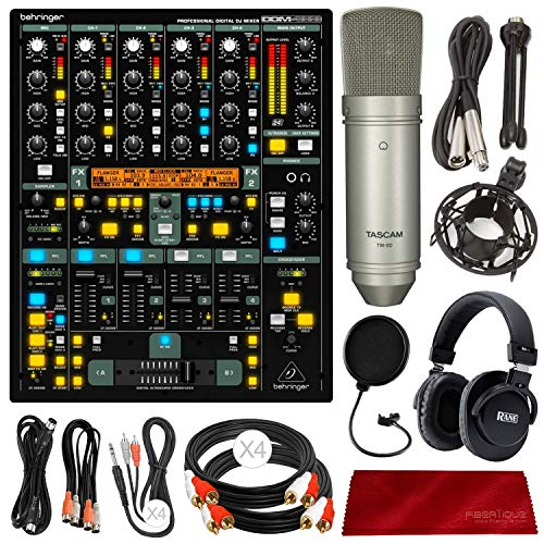 (Behringer DDM4000 4-Channel Digital DJ Mixer + Tascam Microphone + Headphones + Cables Deluxe Accessories)