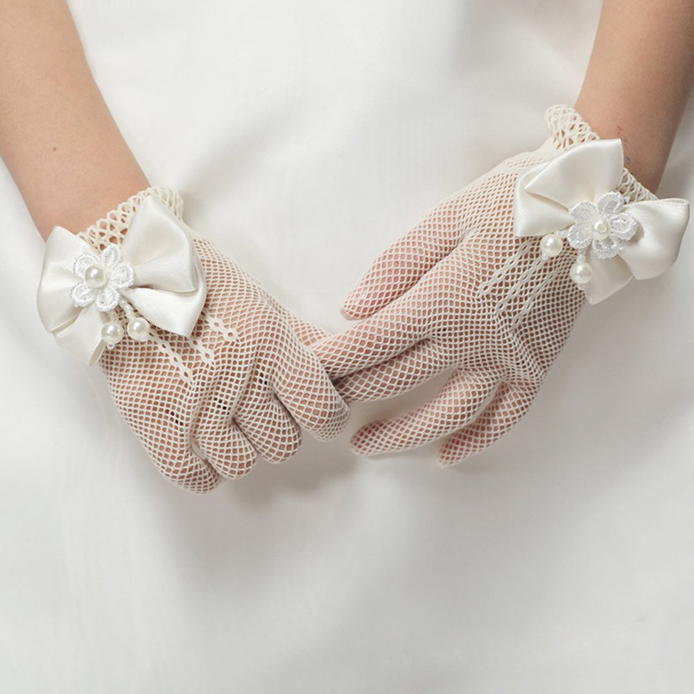 Ethel Girls Hollow Out Pearl Flower Bowknot Finger Gloves for First Holy Communion