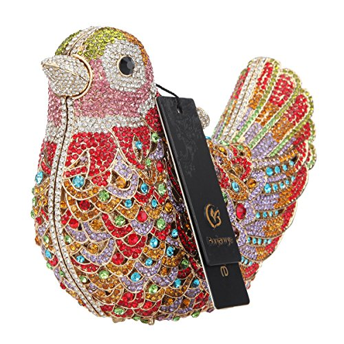 Evening Purple Bonjanvye Bird Bag Girls Blue For Rhinestone Colorful Glitter Clutch Purses TXAqH