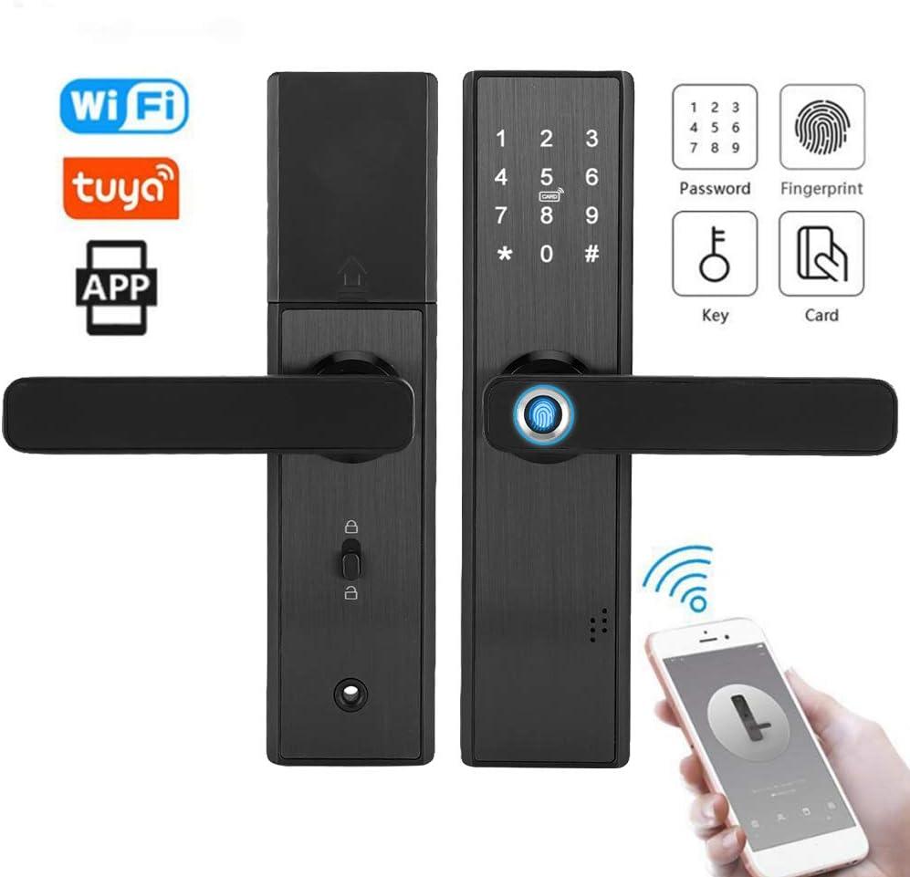 Ladieshow Electronic Smart Door Lock WiFi Touch Screen Fingerprint Password IC Card Smart Door Lock con llave mec/ánica para el hogar