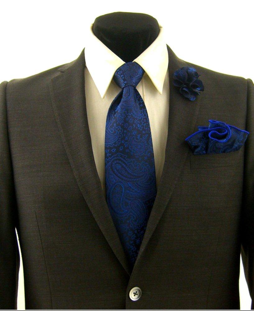Men's Blue Paisley Necktie Tie, Round Pocket Square and Lapel Pin Box Set