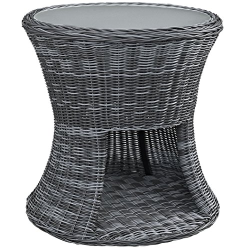 Modway Summon Outdoor Patio Tempered Glass Side Table With Storage, Espresso price