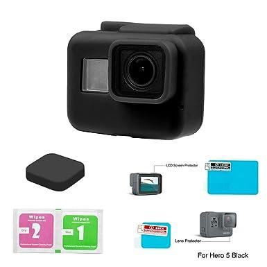 somate GoPro Hero 5 lente protectora de silicona caso de vivienda + funda + LCD Protector