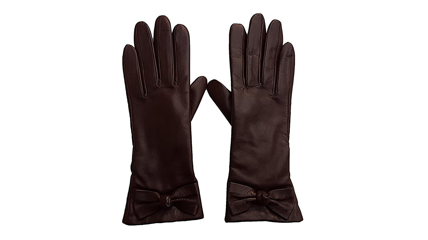 Kate Spade New York Women's Bon Bon Bow Leather Gloves Mahogany (200)) 00_COBXZESF_02
